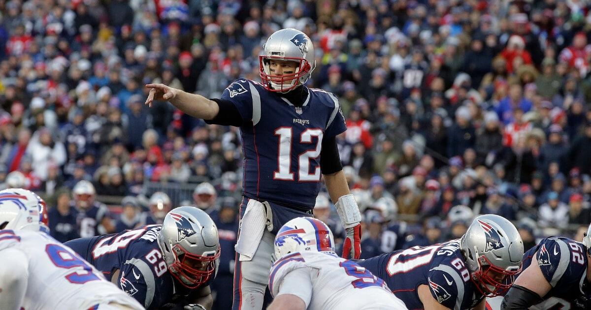 Tom Brady calling signals against Buffalo