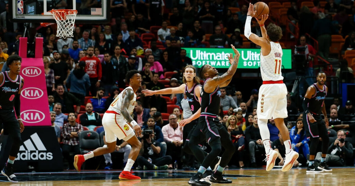 Atlanta's Trae Young shoots from beyond the 3-point line.