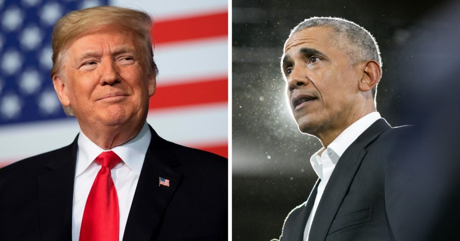 President Donald Trump, left, and his predecessor, Barack Obama.