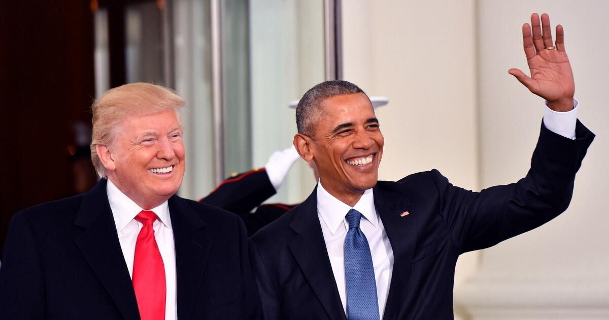 President Donald Trump, left, and his predecessor, Barack Obama.