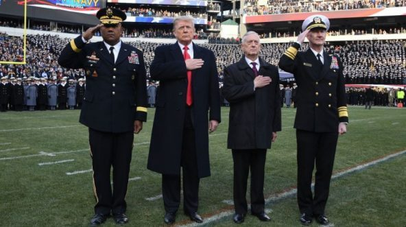 President Donald Trump was on the field for the playing of the national anthem at Saturday's Army-Navy game in Philadelphia.