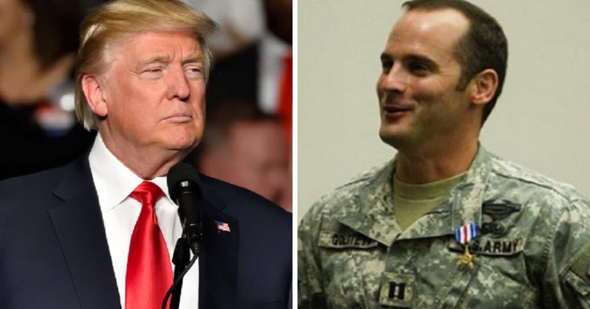President Donald Trump, left; and Army Maj. Matt Golsteyn, right.