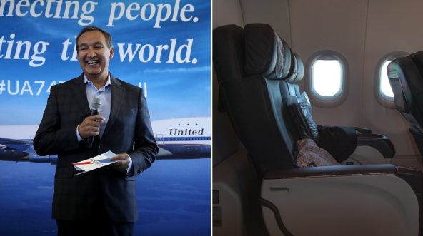 United CEO, left, and empty business class seats, right.