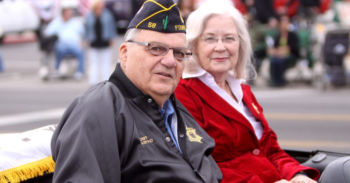 Joe Arpaio and his wife, Ava, at the 2011 Veterans Day parade in Phoenix.