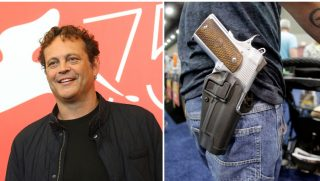 Actor Vince Vaughn poses for photographers and Donald Carder wears his handgun in a holster as he pushes his son, Waylon, in a stroller