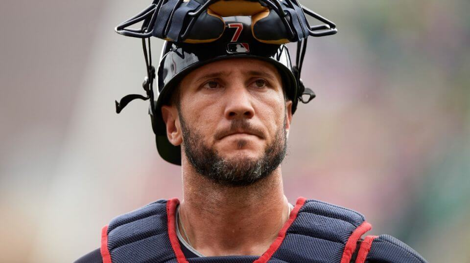 Yan Gomes of the Cleveland Indians looks on during an Aug. 1 game against the Minnesota Twins.