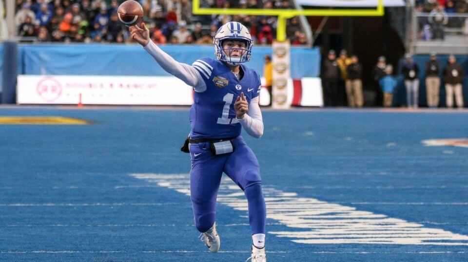 Quarterback Zach Wilson of the BYU Cougars throws a pass during second half action against the Western Michigan Broncos at the Famous Idaho Potato Bowl on Dec. 21, 2018, at Albertsons Stadium in Boise, Idaho.