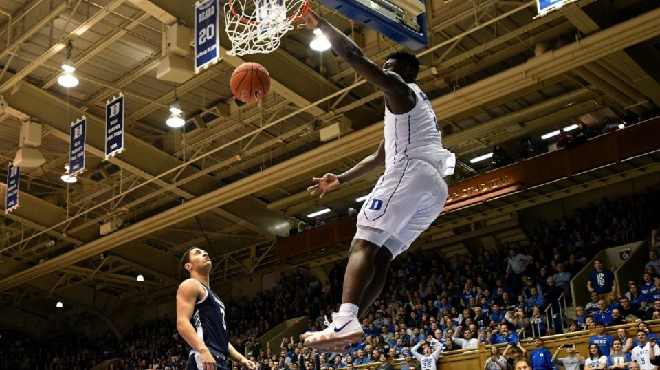 Zion Williamson of the Duke Blue Devil dunks the ball against the Yale Bulldogs at Cameron Indoor Stadium on Dec. 8.