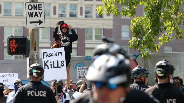 Counter demonstrators blocked by police