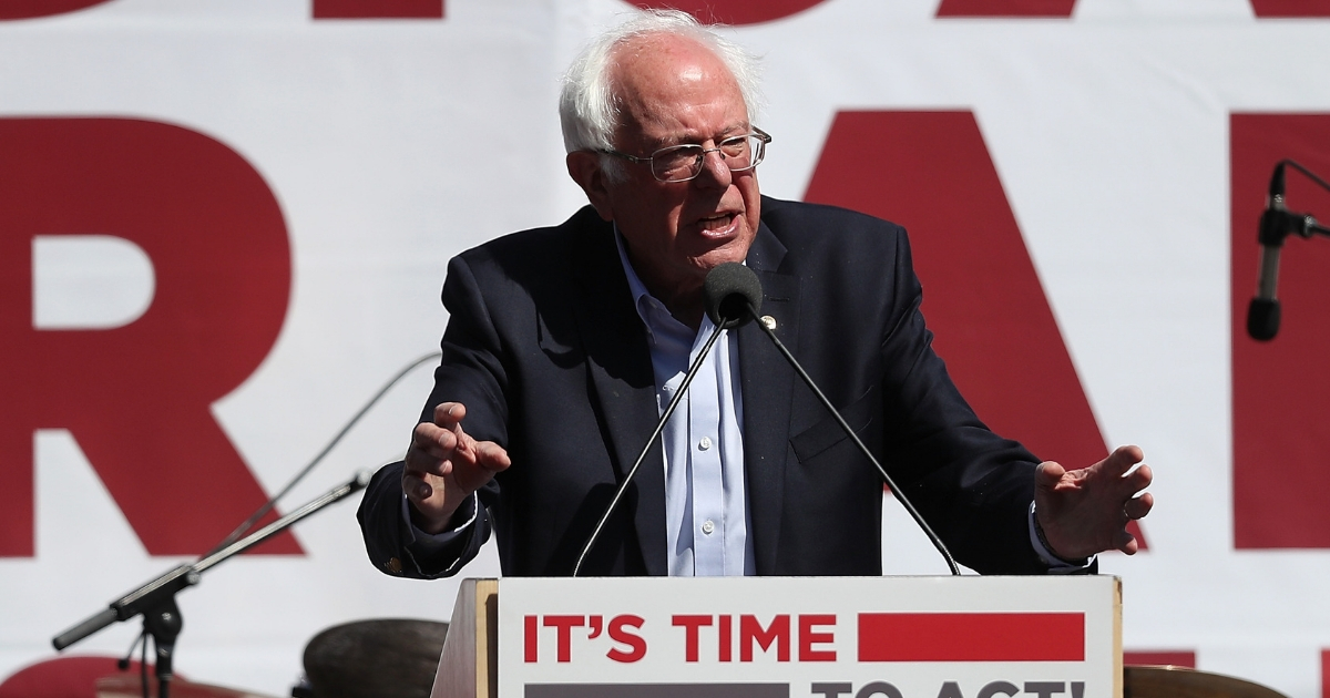 Sen. Bernie Sanders speaks at a Medicare for All rally.