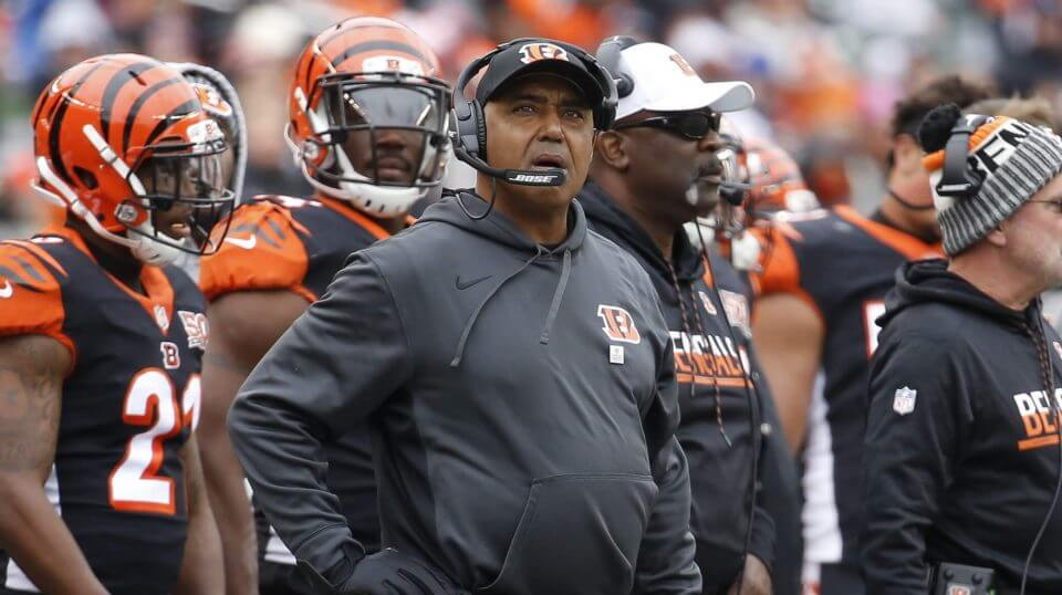 In this Oct. 29, 2017, photo, Cincinnati Bengals head coach Marvin Lewis works the sideline in the first half of an NFL football game against the Indianapolis Colts in Cincinnati.