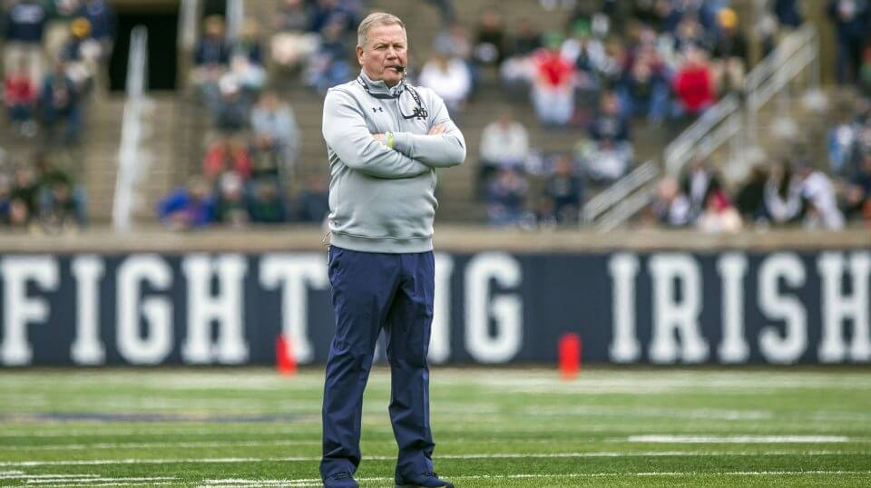 Notre Dame head coach Brian Kelly watches during the Notre Dame Blue-Gold spring game April 21 in South Bend.