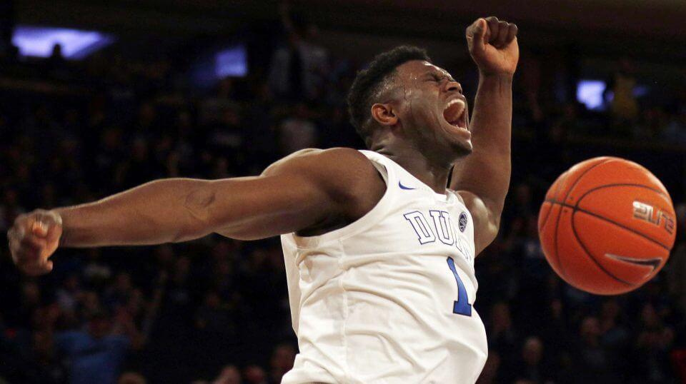 Duke forward Zion Williamson dunks against Texas Tech during a Dec. 20 game in New York.