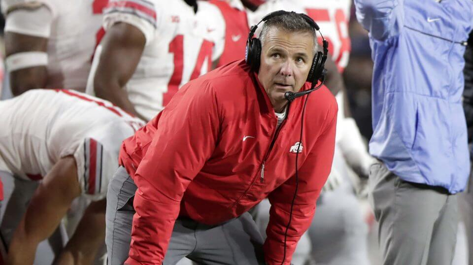 Ohio State head coach Urban Meyer watches from the sideline during the Oct. 20 game against Purdue in West Lafayette, Indiana.
