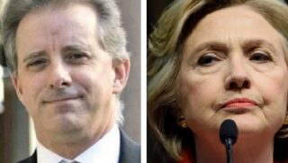 Christopher Steele, left; and Hillary Clinton, right.