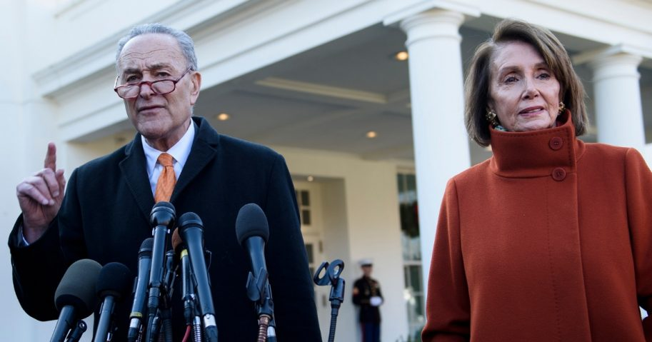 Senate Minority Leader Chuck Schumer and presumptive Speaker, House Minority Leader Nancy Pelosi, make statements to the media after a meeting with US President Donald Trump at the White House.