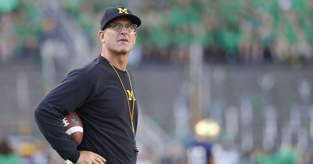 Michigan coach Jim Harbaugh on the sidelines