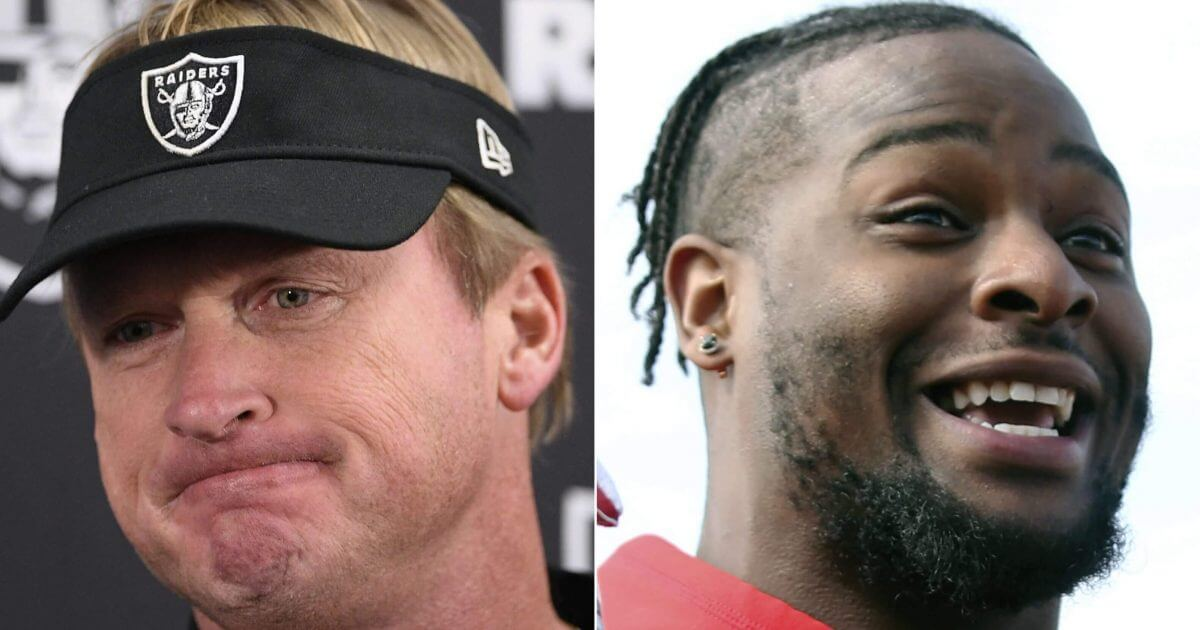 The return of Oakland Raiders head coach Jon Gruden, left, has turned out to be a dud. Pittsburgh Steelers running back Le'Veon Bell, right, never set foot on the field this season.