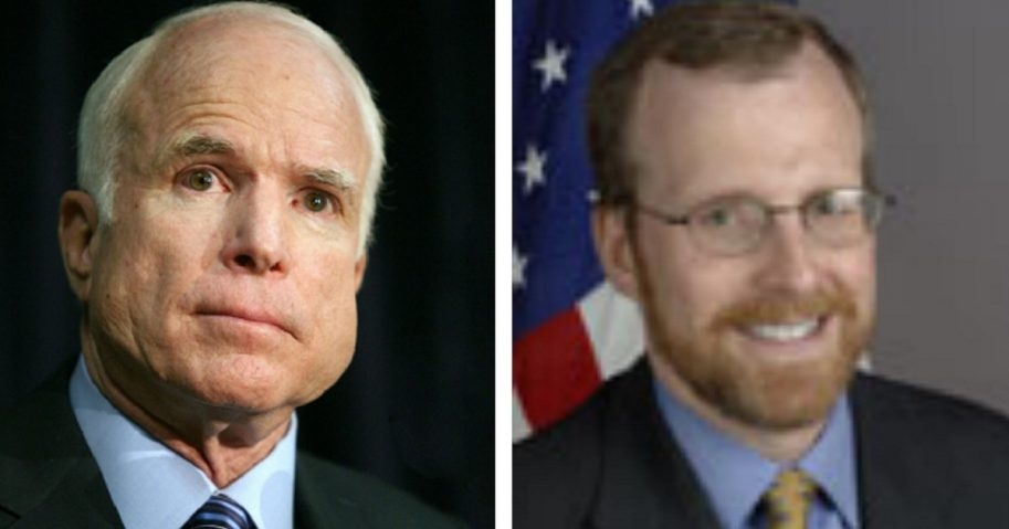 The late Sen. John McCain, left; and McCain aide David Kramer, right.