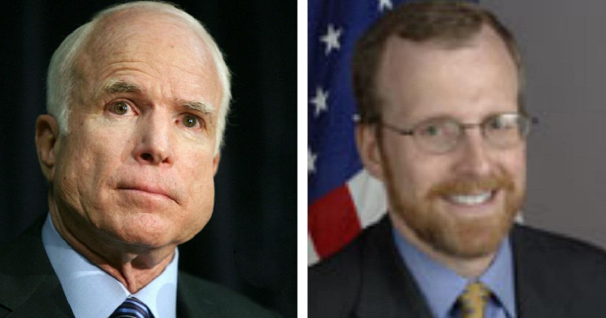 The late Sen. John McCain, left; and McCain aide David Kramer, right.