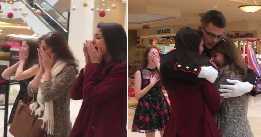 Family in Tears When Marine Son Surprises Them at Mall for Photo with Santa