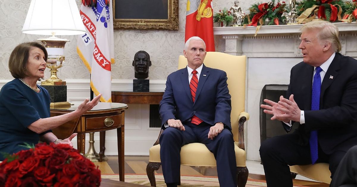 Nancy Pelosi, Mike Pence and President Trump argue about border security in the Oval Office.