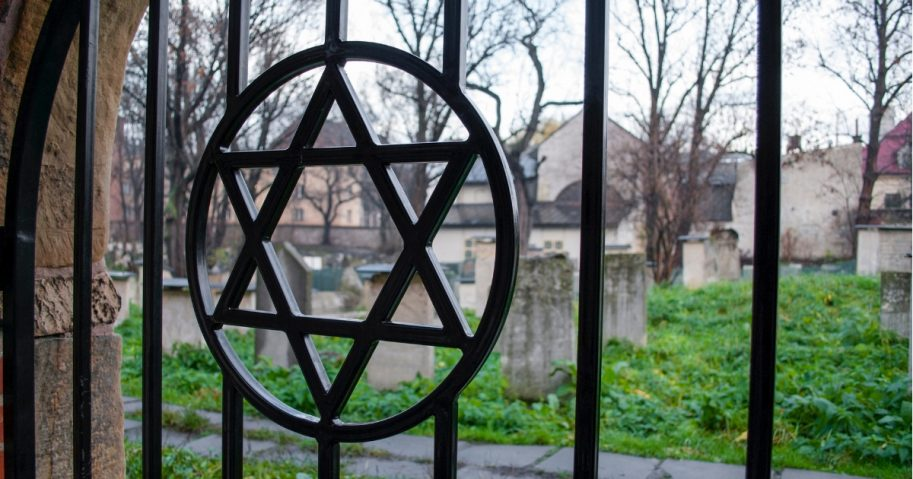 Star of David on the fence of the Jewish cemetery
