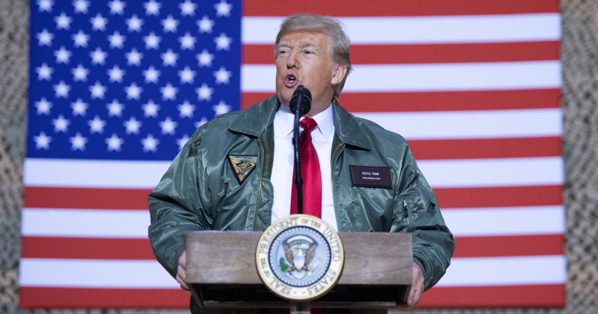 President Donald Trump speaks to U.S. troops.