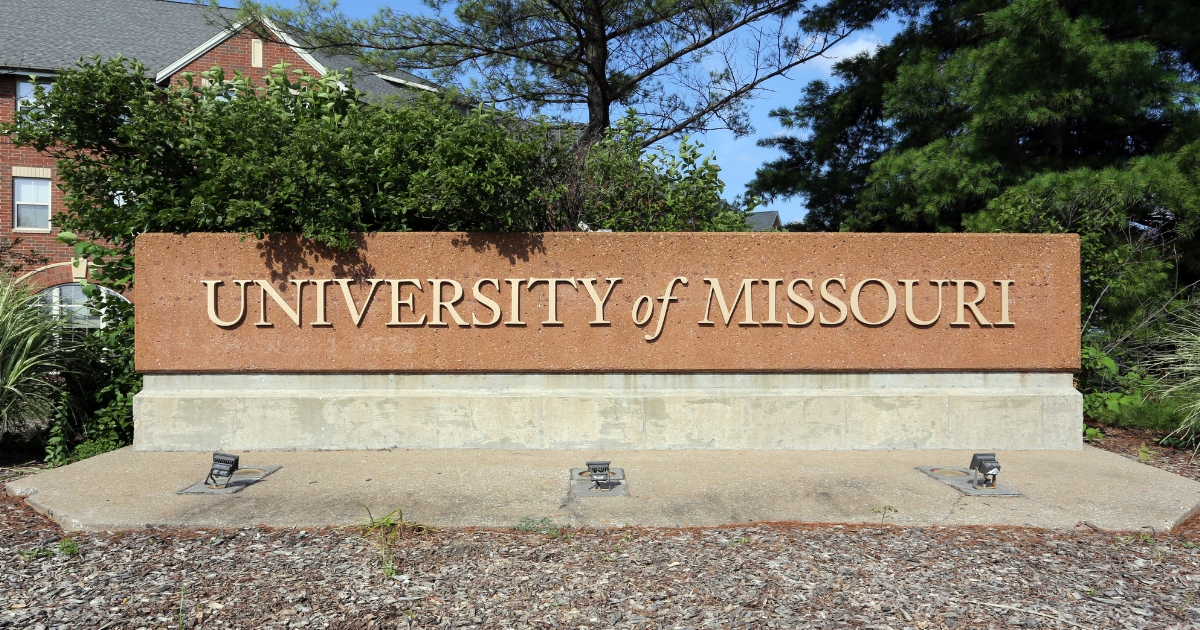 An entrance sign at the University of Missouri in Columbia, Missouri.