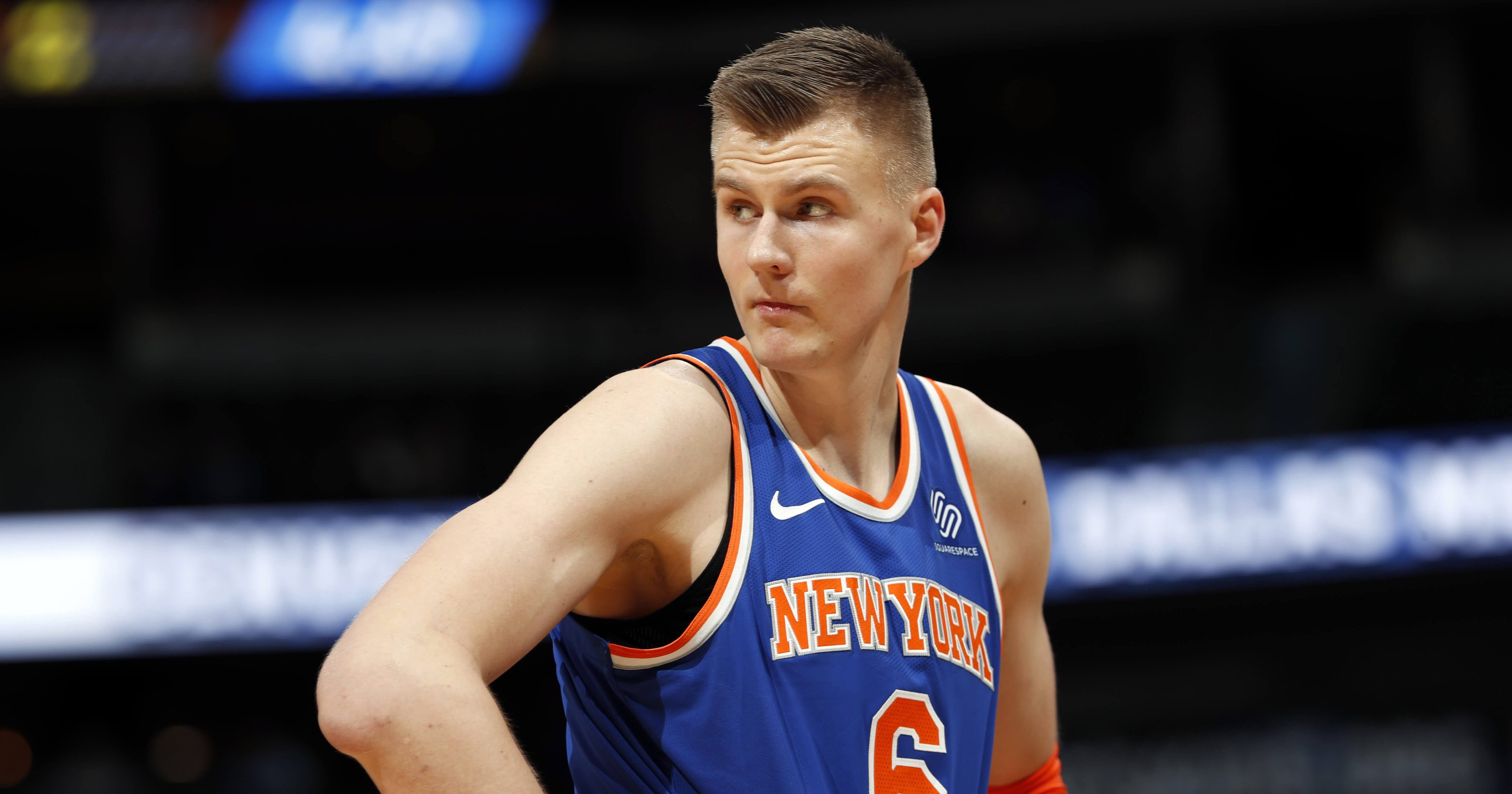 Kristaps Porzingis reacts after fouling out of the New York Knicks' game against the Denver Nuggets on Jan. 25.