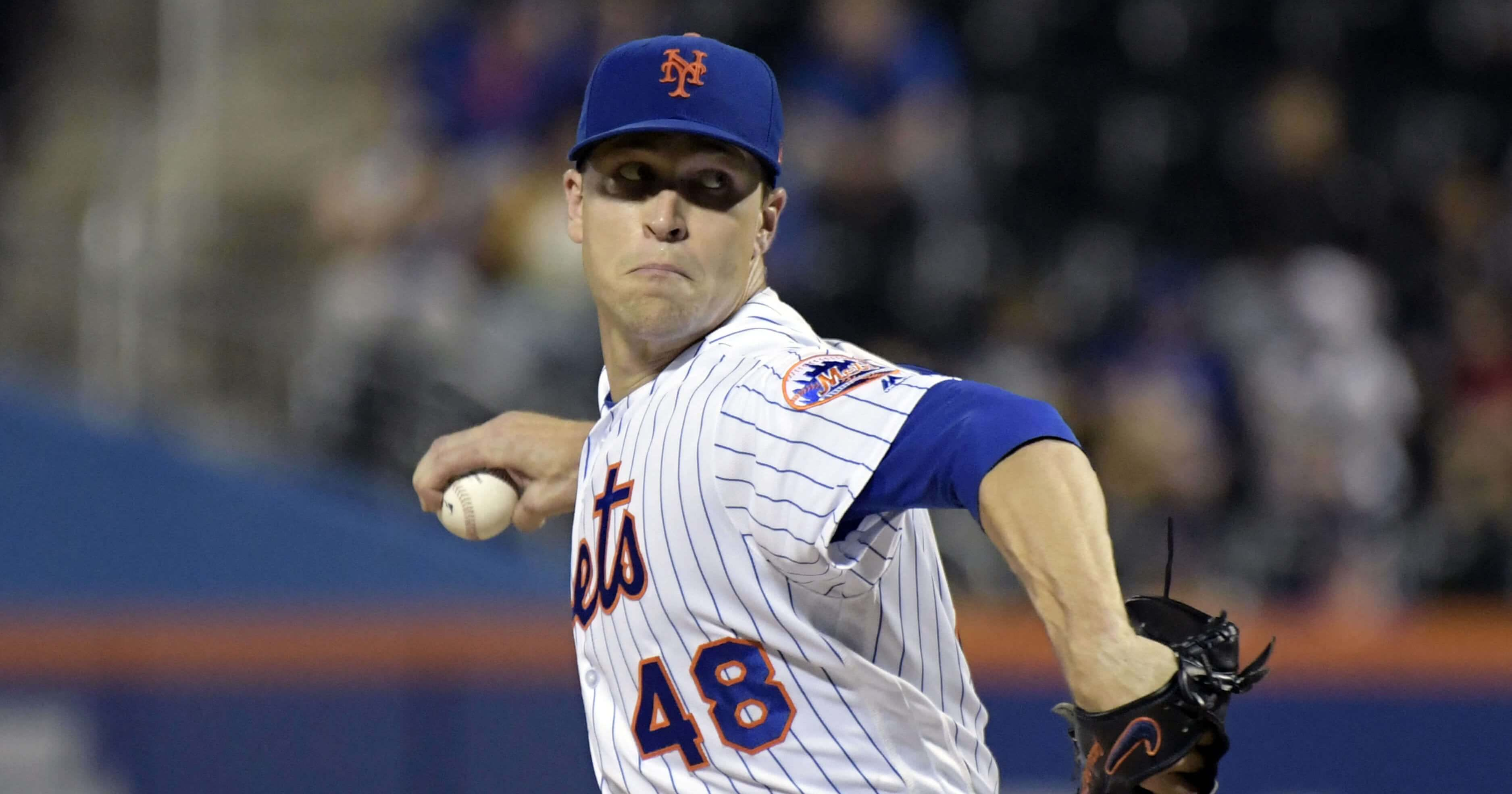 New York Mets pitcher Jacob deGrom delivers the ball in a Sept. 26, 2018, game against the Atlanta Braves in New York.