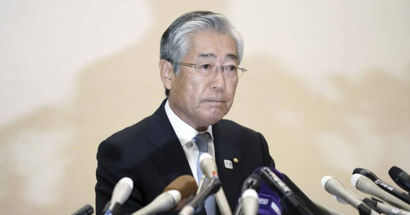 Tsunekazu Takeda, a member of the International Olympics Committee and head of the Japanese Olympic Committee, pauses during a press conference in Tokyo on Tuesday