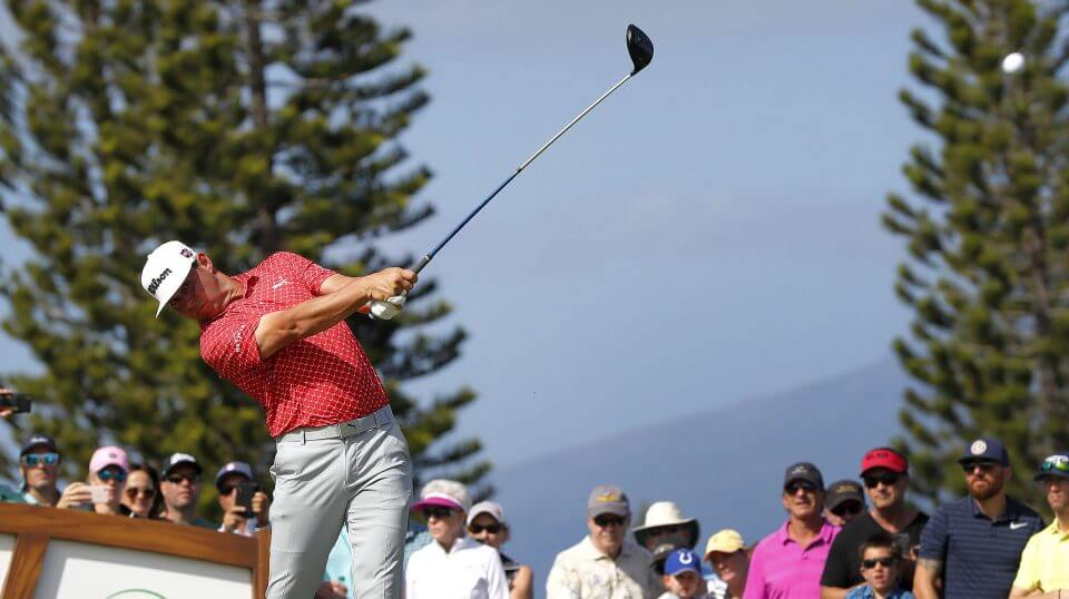 Gary Woodland plays his shot from the third tee during the third round of the Tournament of Champions golf event on Saturday at Kapalua Plantation Course in Kapalua, Hawaii.