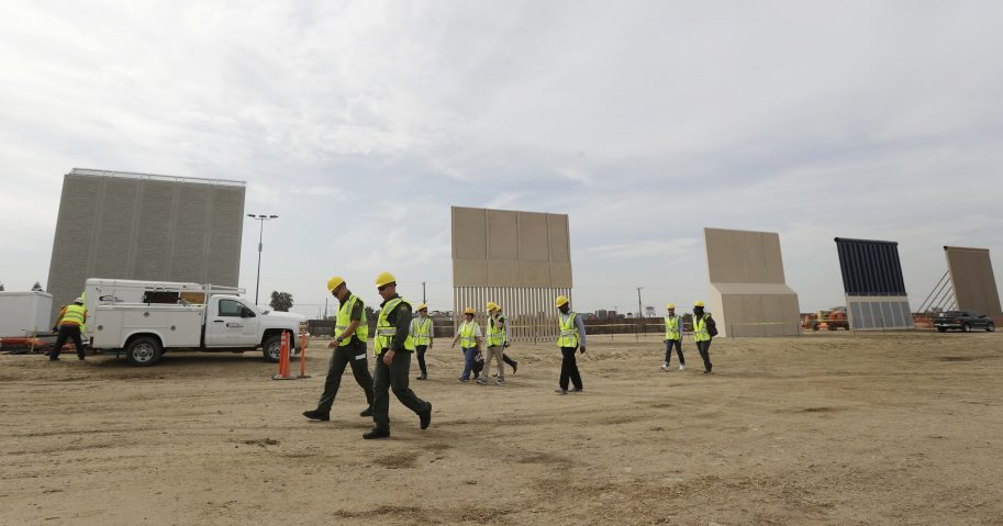 Border wall prototypes are seen Oct. 19, 2017, as they stand near the U.S. border with Tijuana, Mexico, in San Diego.