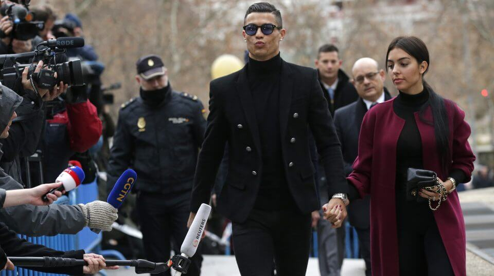 Cristiano Ronaldo arrives at court in Madrid on Tuesday.
