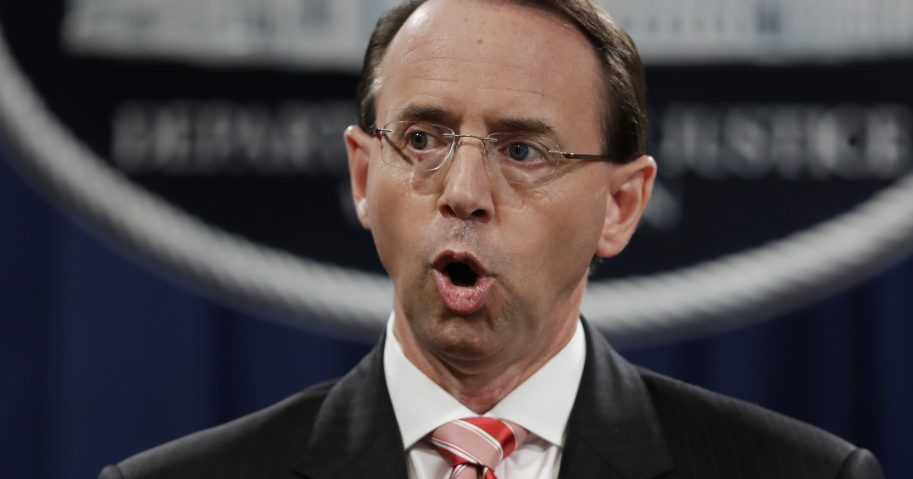 Deputy Attorney General Rod Rosenstein speaks during a news conference at the Department of Justice in Washington.