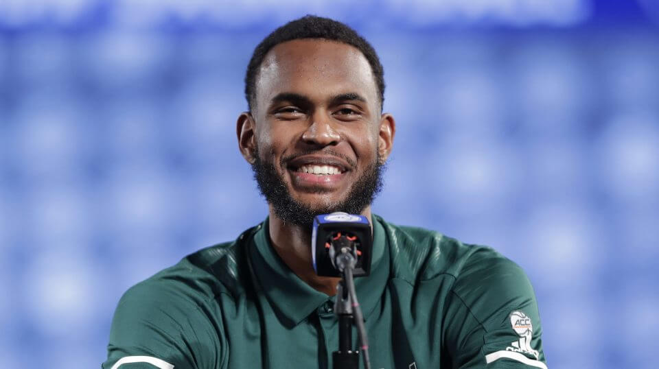 Miami's Dewan Hernandez speaks to the media during a news conference Oct. 24, 2018, at the Atlantic Coast Conference college basketball media day in Charlotte, North Carolina.
