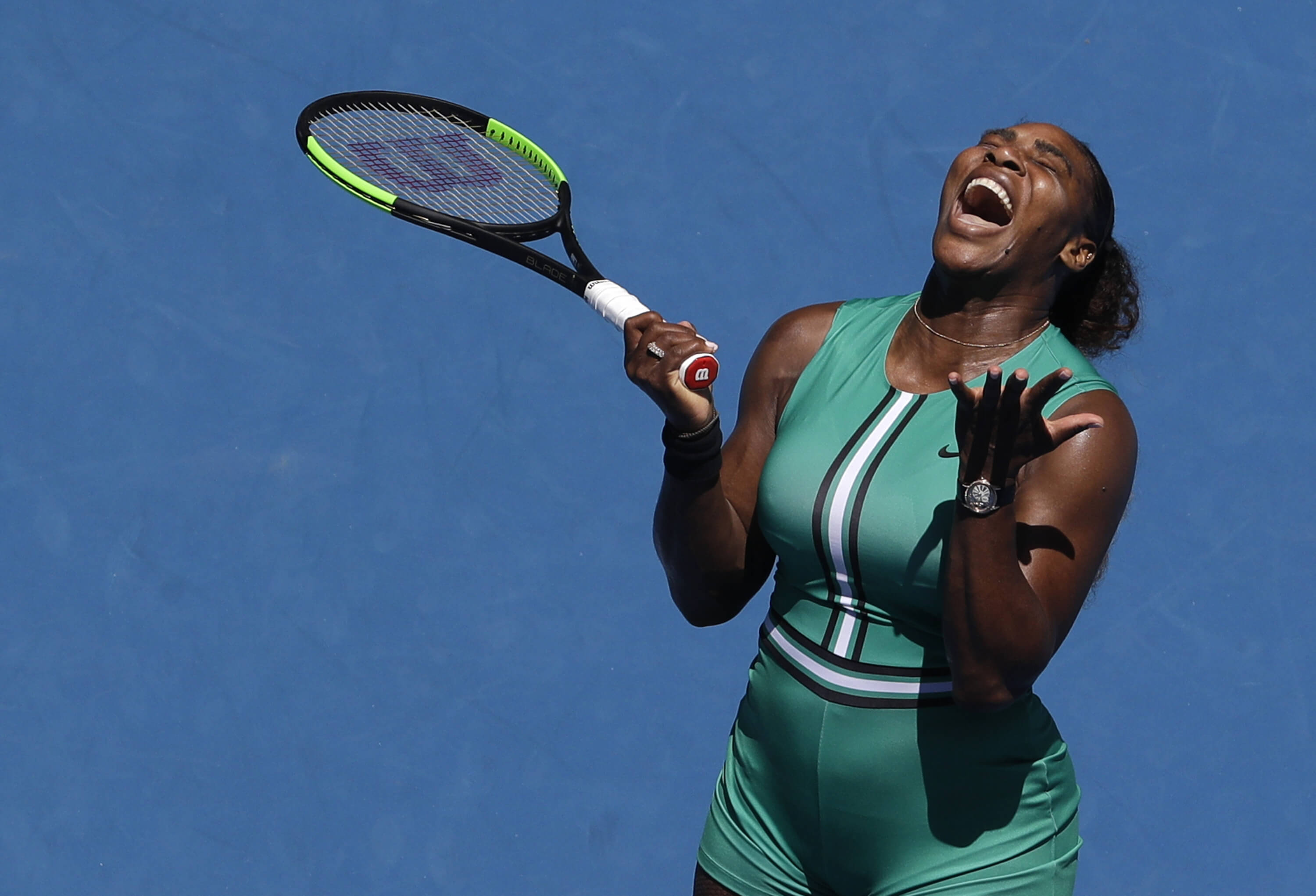 Serena Williams reacts after losing a point to Karolina Pliskova during their quarterfinal match Wednesday at the Australian Open tennis championships in Melbourne.