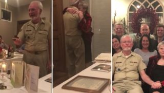 An elderly couple celebrates their 50th wedding anniversary with vow renewal.