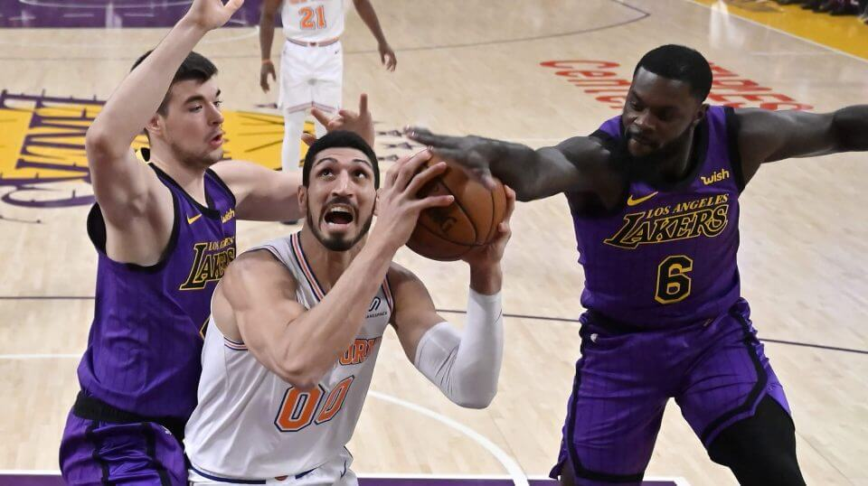 New York Knicks center Enes Kanter tries to shoot during Friday's game against the Lakers in Los Angeles.