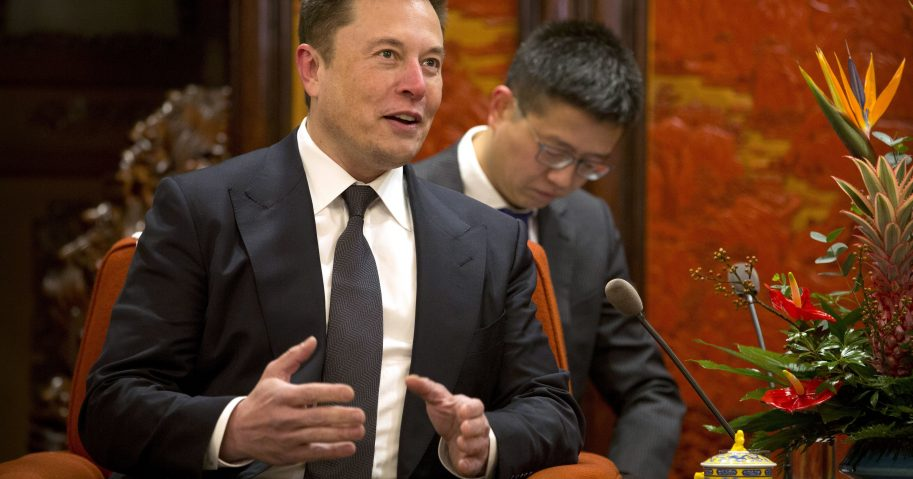 Tesla CEO Elon Musk speaks during a meeting with Chinese Premier Li Keqiang at the Zhongnanhai leadership compound in Beijing on Jan. 9.