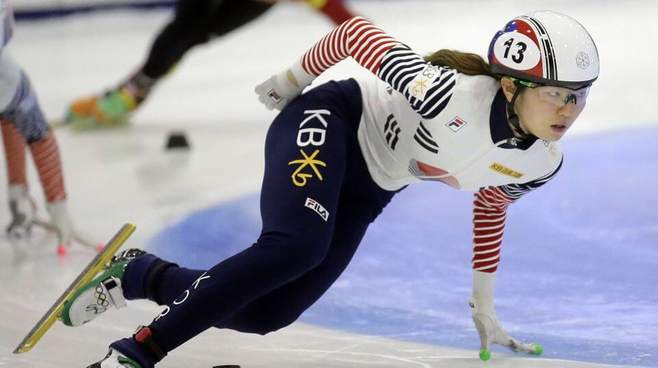 In this Nov. 13, 2016, file photo, first place finisher Shim Suk-hee, from South Korea, races during the women's 1,500-meter finals at a World Cup short track speedskating event at the Utah Olympic Oval in Kearns, Utah.