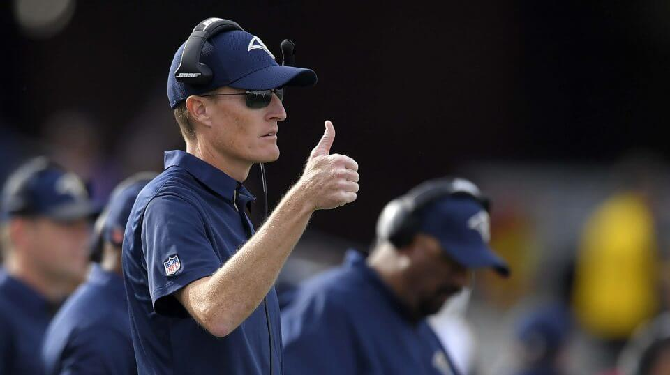 Los Angeles Rams special teams coordinator John Fassel gestures during a 2017 game against the Philadelphia Eagles.