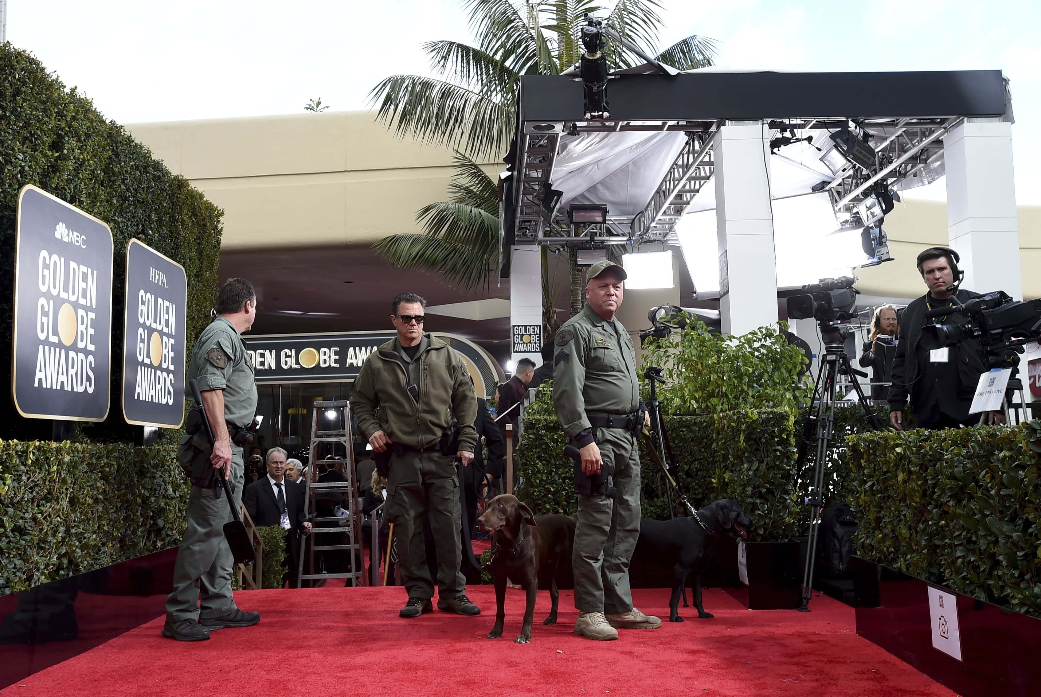 Law enforcement officers do a security sweep of the red carpet at the 76th annual Golden Globe Awards at the Beverly Hilton Hotel on Jan. 6, 2019, in Beverly Hills, California.
