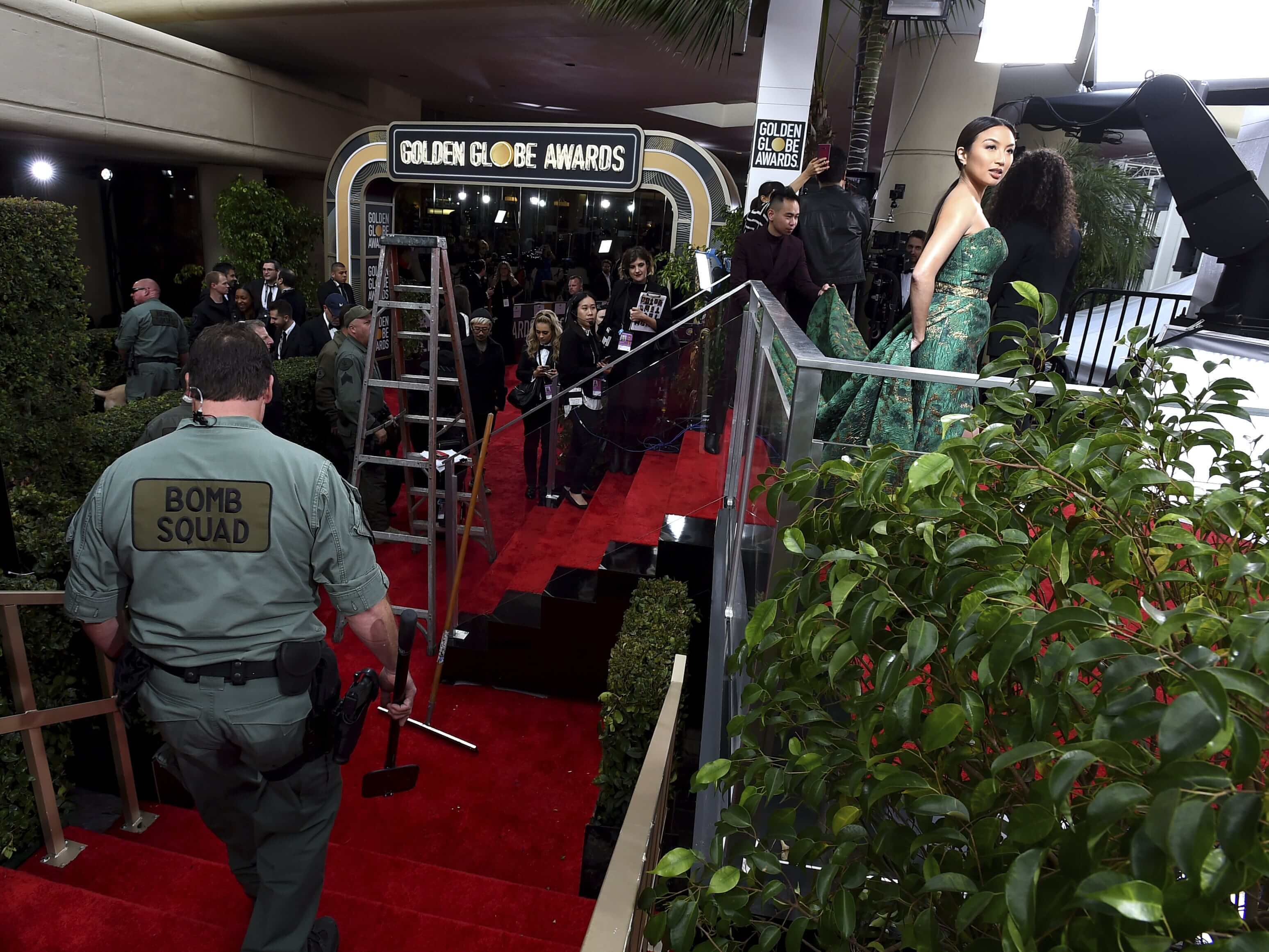 Law enforcement performs a security sweep of the red carpet as Jeannie Mai prepares for the arrivals at the 76th annual Golden Globe Awards at the Beverly Hilton Hotel on Jan. 6, 2019, in Beverly Hills, California.
