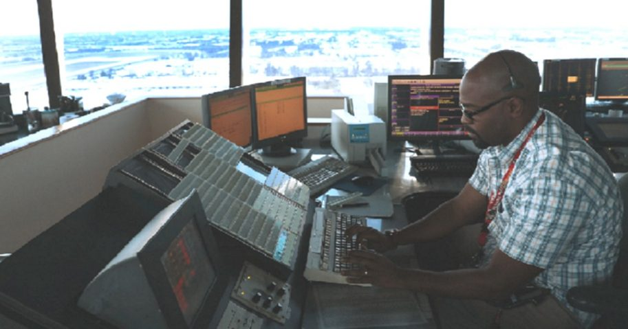 Air traffic controller in a tower.