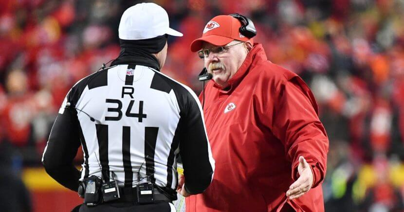 Kansas City Chiefs coach Andy Reid speaks to referee Clete Blakeman after a call in the fourth quarter against the New England Patriots during the AFC championship game Sunday at Arrowhead Stadium.