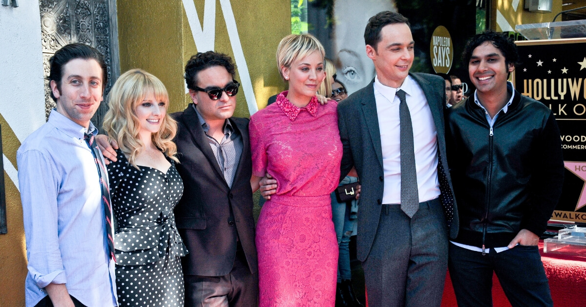 Actress Kaley Cuoco with the cast of 'The Big Bang Theory' at The Hollywood Walk Of Fame ceremony for Kaley Cuoco on Oct. 29, 2014, in Hollywood, California.