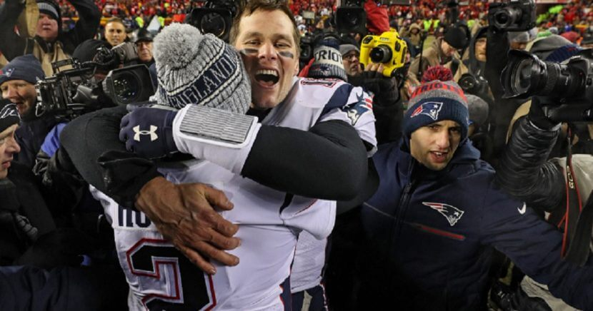 New England Patriots quarterback Tom Brady celebrates Sunday after his team's overtime win in the AFC Championship game against the Kansas City Chiefs.