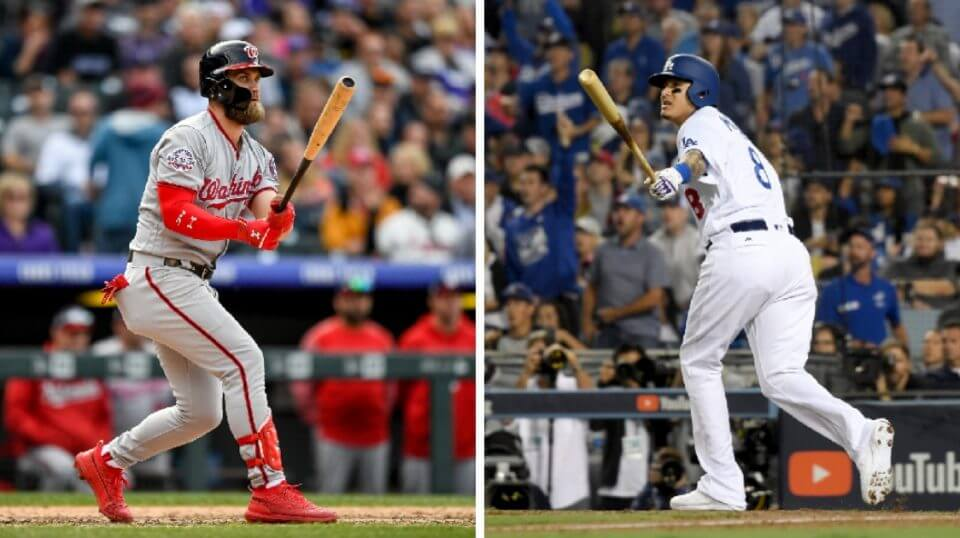 Bryce Harper, left, and Manny Machado, right, are both looking to cash in with big free-agent deals this offseason.